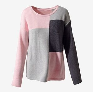 Sweater Knit Long Sleeve Color Block Crew Neck